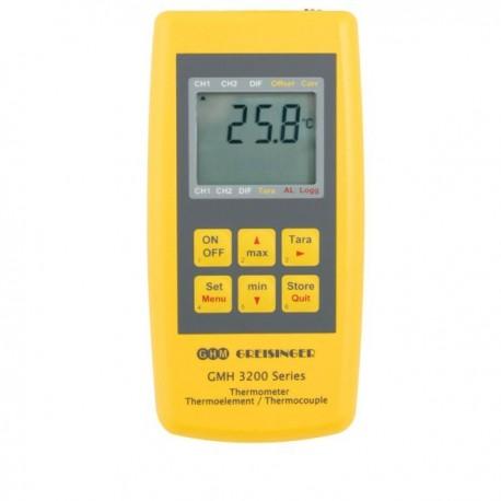Termómetro com entrada universal para diferentes tipos de sondas de termopar Greisinger GMH3211