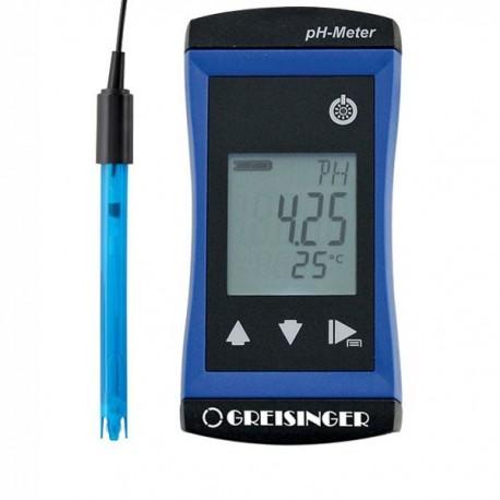 Medidor de pH/Redox e temperatura de elevada precisão com eléctrodo incluído Greisinger G1501