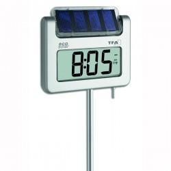 Termómetro digital de jardim com retro-iluminação e energia fotovoltaica com relógio controlado por rádio TFA 30.2030.54