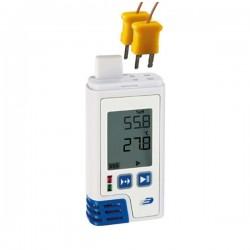 Registador/Datalogger de temperatura com 2 entradas para termopar tipo K com visor e impressão em PDF Dostmann 5005-0204