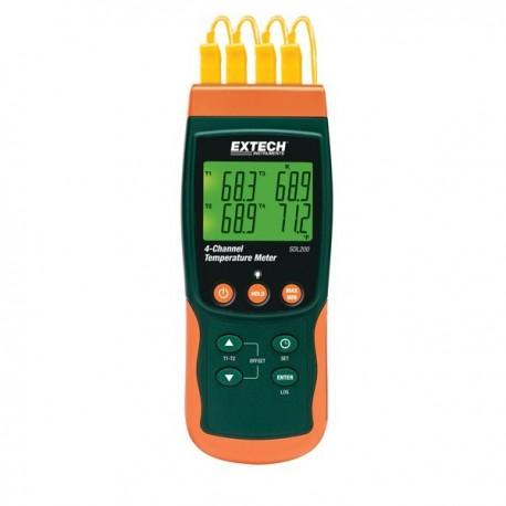 Datalogger de temperatura com 4 entradas para termopar tipo K, J, E, T, R e S e PT100 Extech SDL200