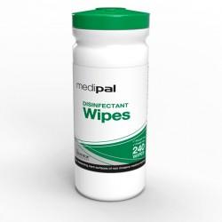 Caixa com 10 tubos de toalhetes desinfetantes PAL International ™ Medipal ™ 3 em 1