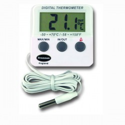 Fridge or Freezer Thermometer with internal sensor & max/min function Brannan 22/420/3