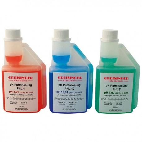 pH buffer solution set Greisinger PHL4-7-10